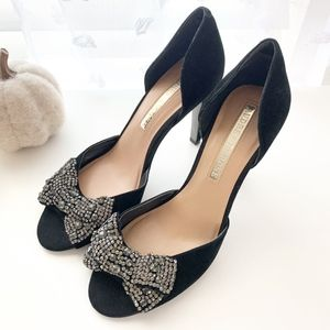 Audrey Brooke • Black Suede Crystal Bow Heels 7.5